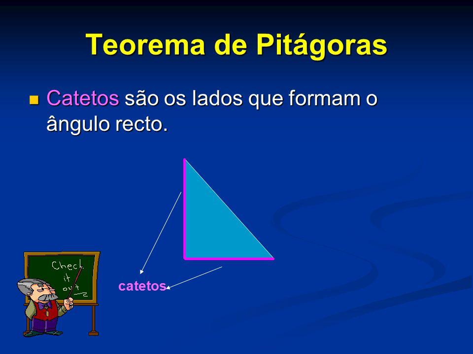 Teorema de Pitágoras Catetos são os lados que formam o ângulo recto.