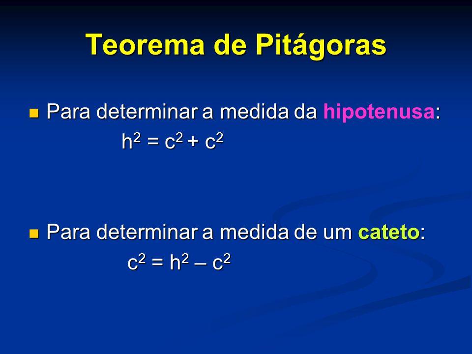 Teorema de Pitágoras Para determinar a medida da hipotenusa: