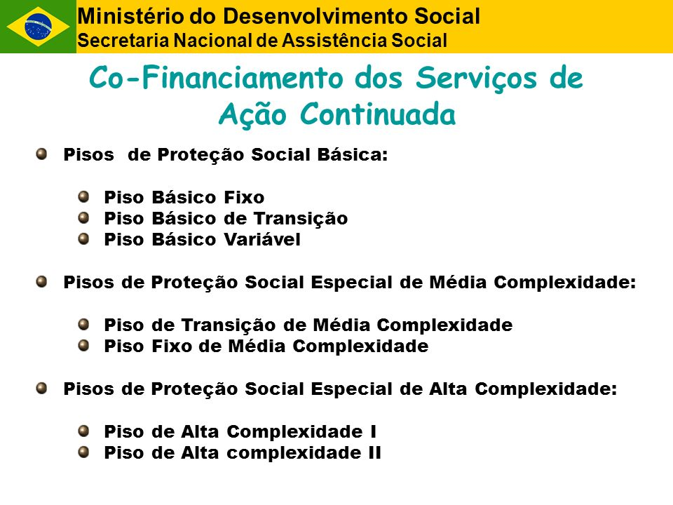 Co-Financiamento dos Serviços de Ação Continuada