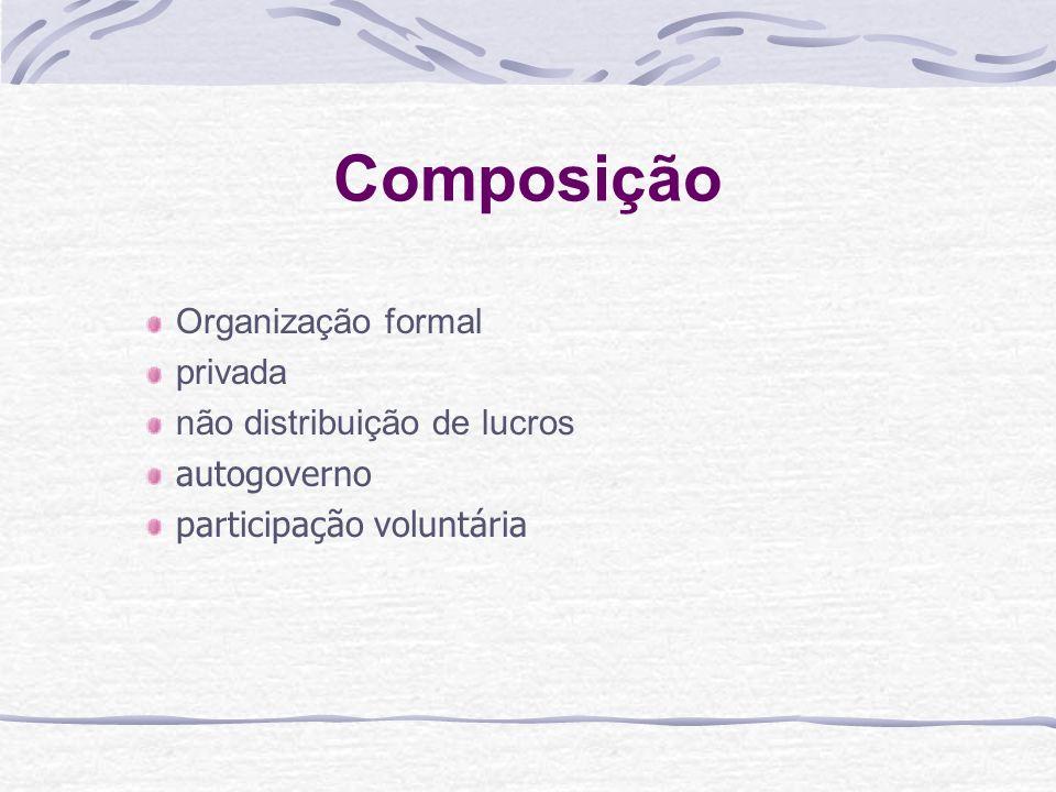 Composição Organização formal privada não distribuição de lucros