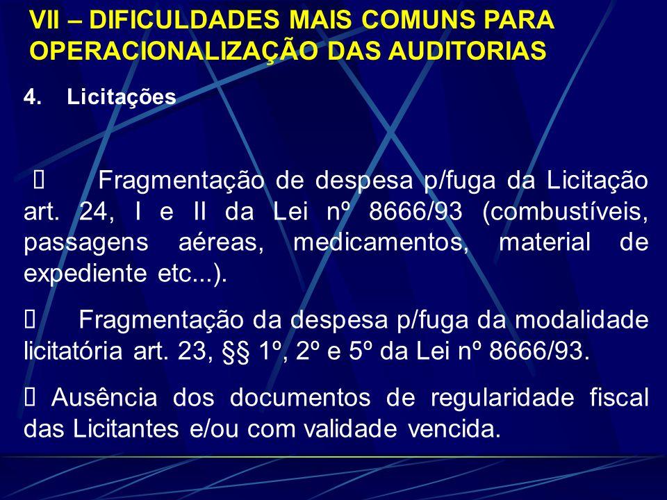 VII – DIFICULDADES MAIS COMUNS PARA OPERACIONALIZAÇÃO DAS AUDITORIAS