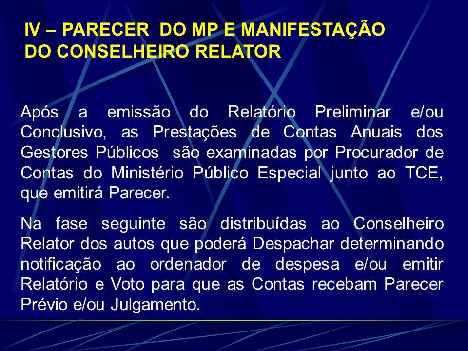 IV – PARECER DO MP E MANIFESTAÇÃO DO CONSELHEIRO RELATOR