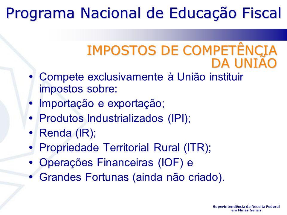 IMPOSTOS DE COMPETÊNCIA DA UNIÃO