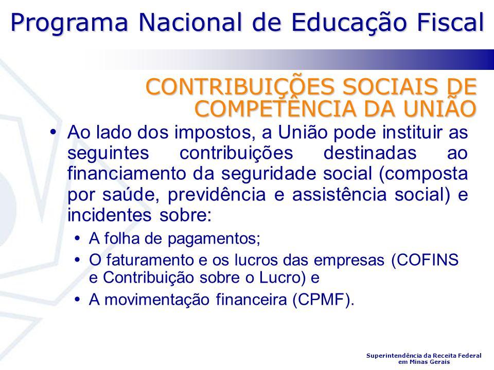 CONTRIBUIÇÕES SOCIAIS DE COMPETÊNCIA DA UNIÃO