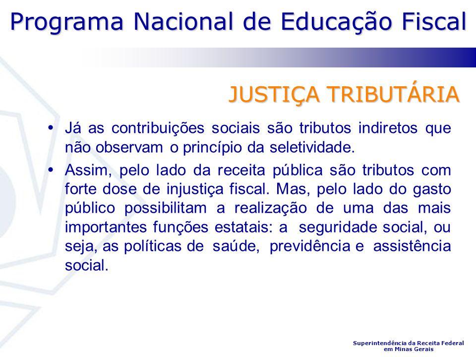 JUSTIÇA TRIBUTÁRIA Já as contribuições sociais são tributos indiretos que não observam o princípio da seletividade.