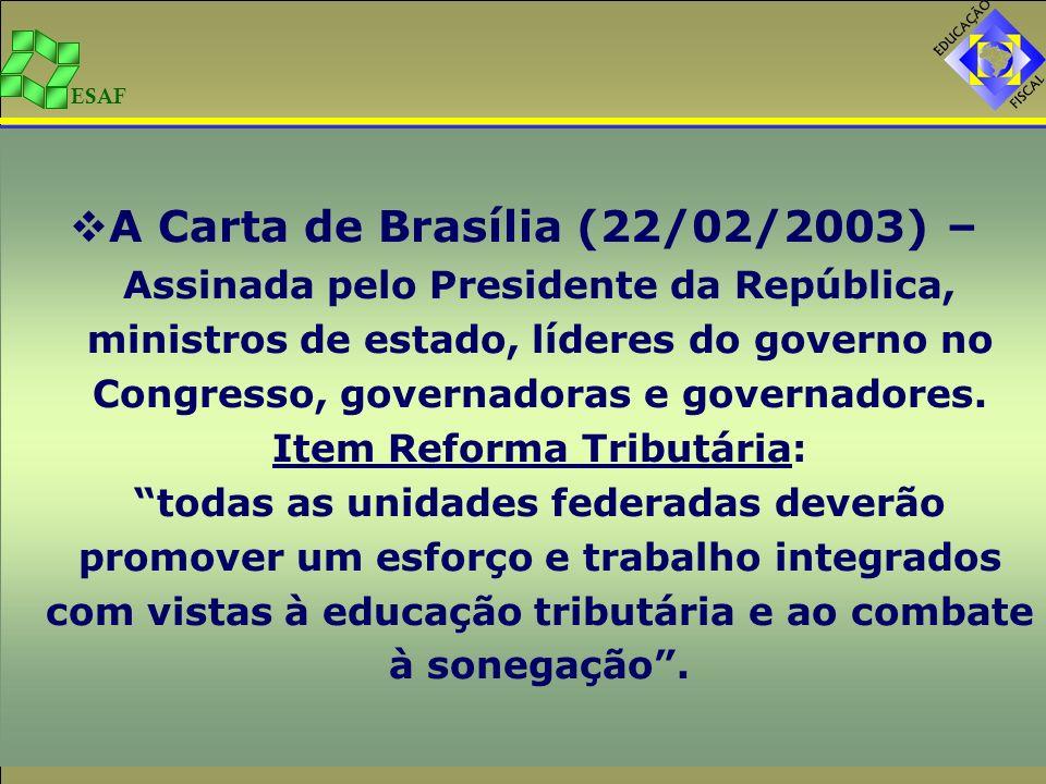 A Carta de Brasília (22/02/2003) – Assinada pelo Presidente da República, ministros de estado, líderes do governo no Congresso, governadoras e governadores.