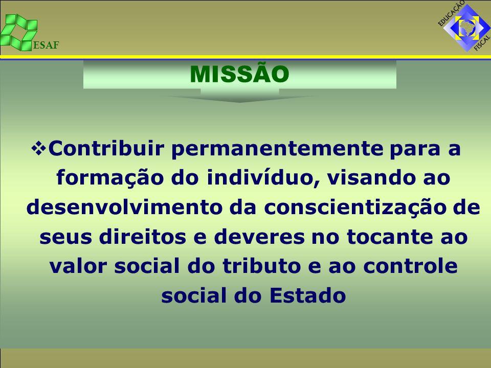 Contribuir permanentemente para a formação do indivíduo, visando ao desenvolvimento da conscientização de seus direitos e deveres no tocante ao valor social do tributo e ao controle social do Estado