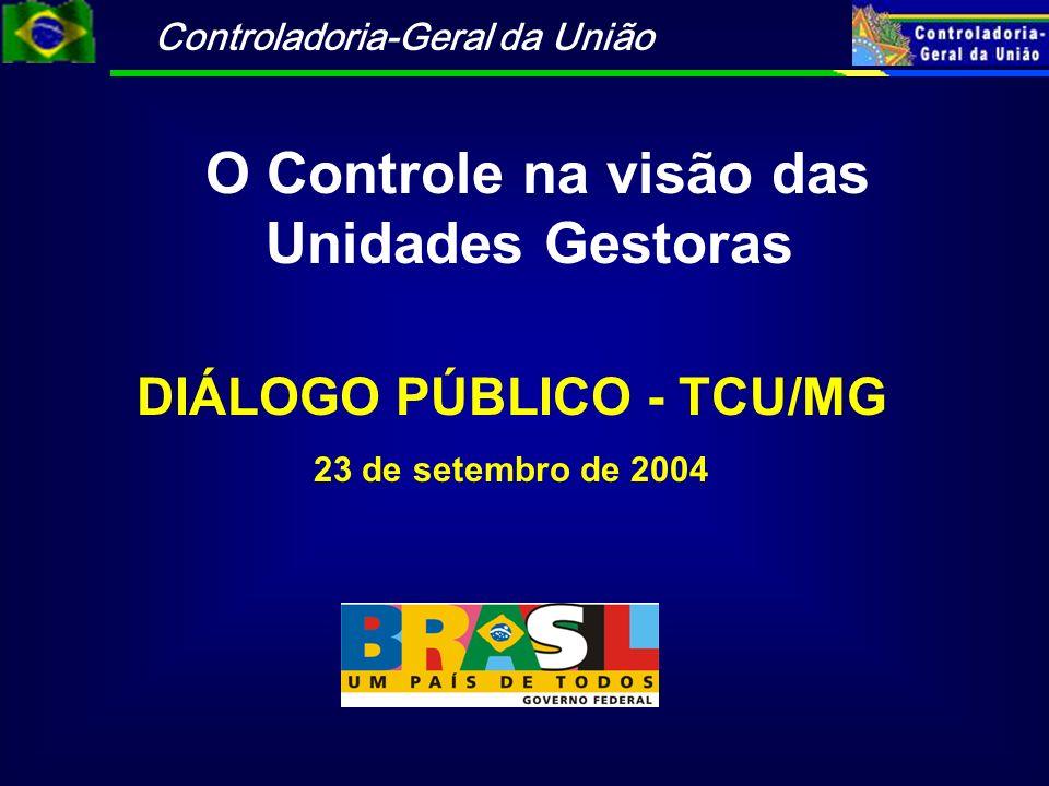O Controle na visão das Unidades Gestoras DIÁLOGO PÚBLICO - TCU/MG