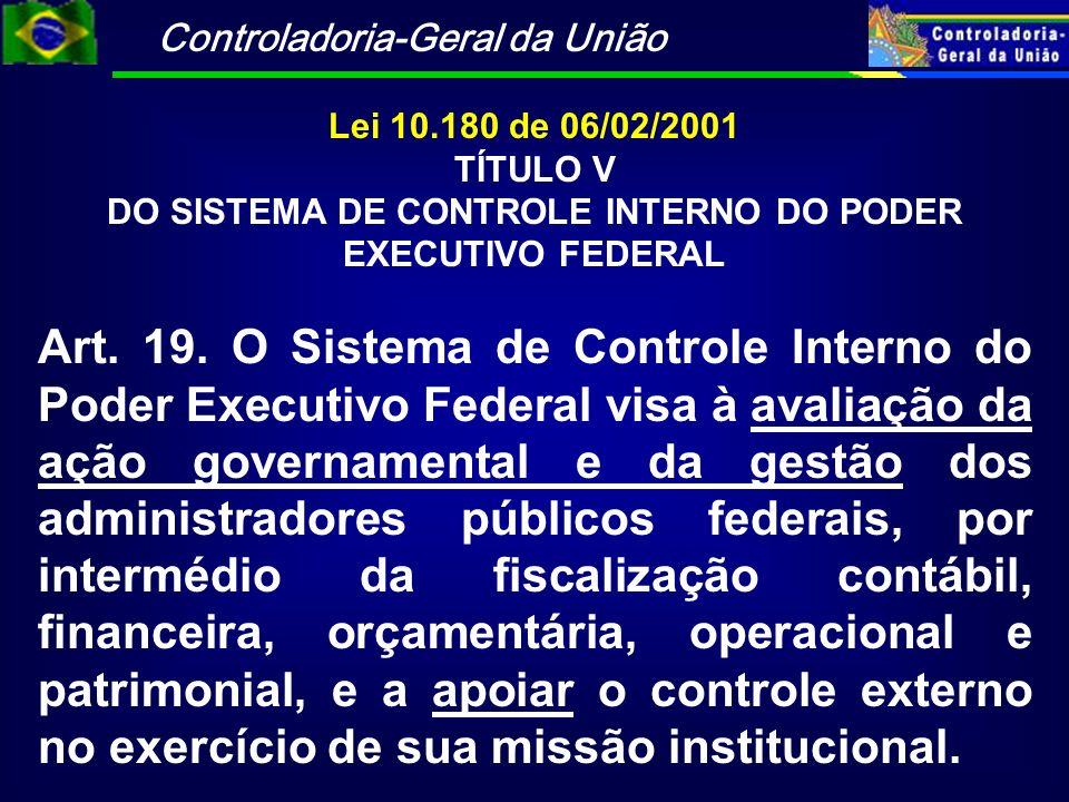 DO SISTEMA DE CONTROLE INTERNO DO PODER EXECUTIVO FEDERAL