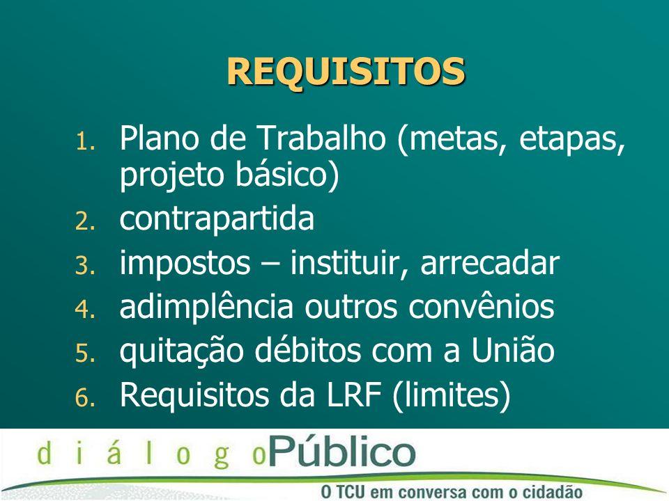 REQUISITOS Plano de Trabalho (metas, etapas, projeto básico)