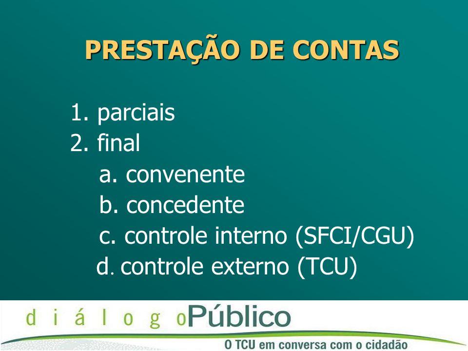 PRESTAÇÃO DE CONTAS 1. parciais 2. final a. convenente b. concedente