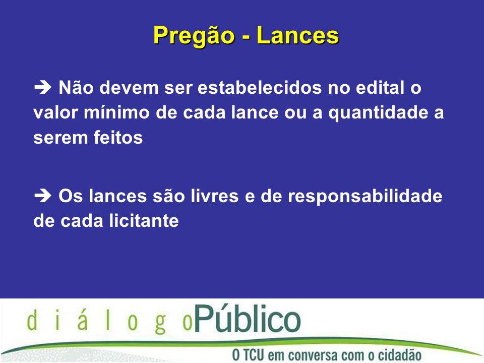 Pregão - Lances Não devem ser estabelecidos no edital o valor mínimo de cada lance ou a quantidade a serem feitos.