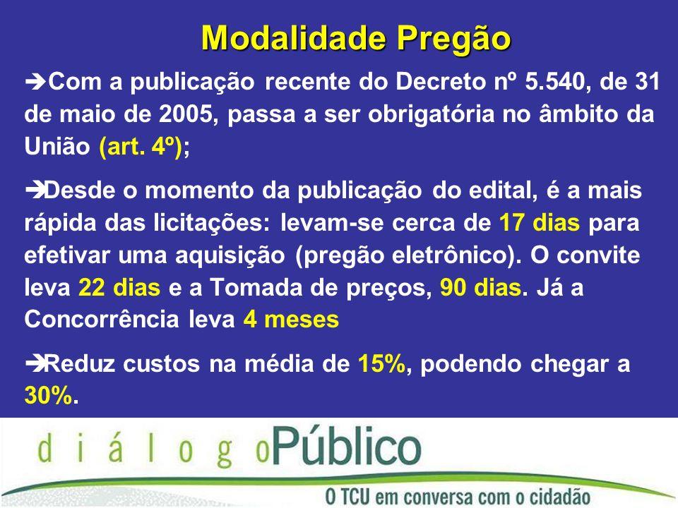 Modalidade Pregão Com a publicação recente do Decreto nº 5.540, de 31 de maio de 2005, passa a ser obrigatória no âmbito da União (art. 4º);