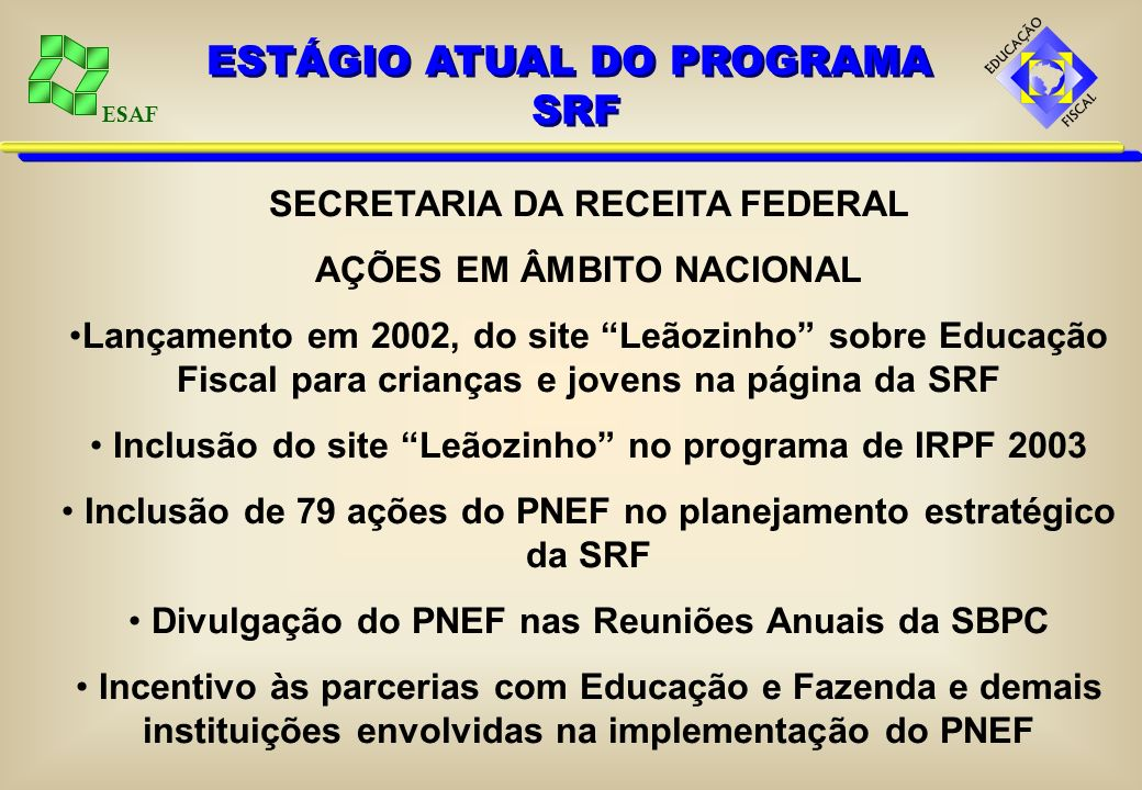 ESTÁGIO ATUAL DO PROGRAMA SRF