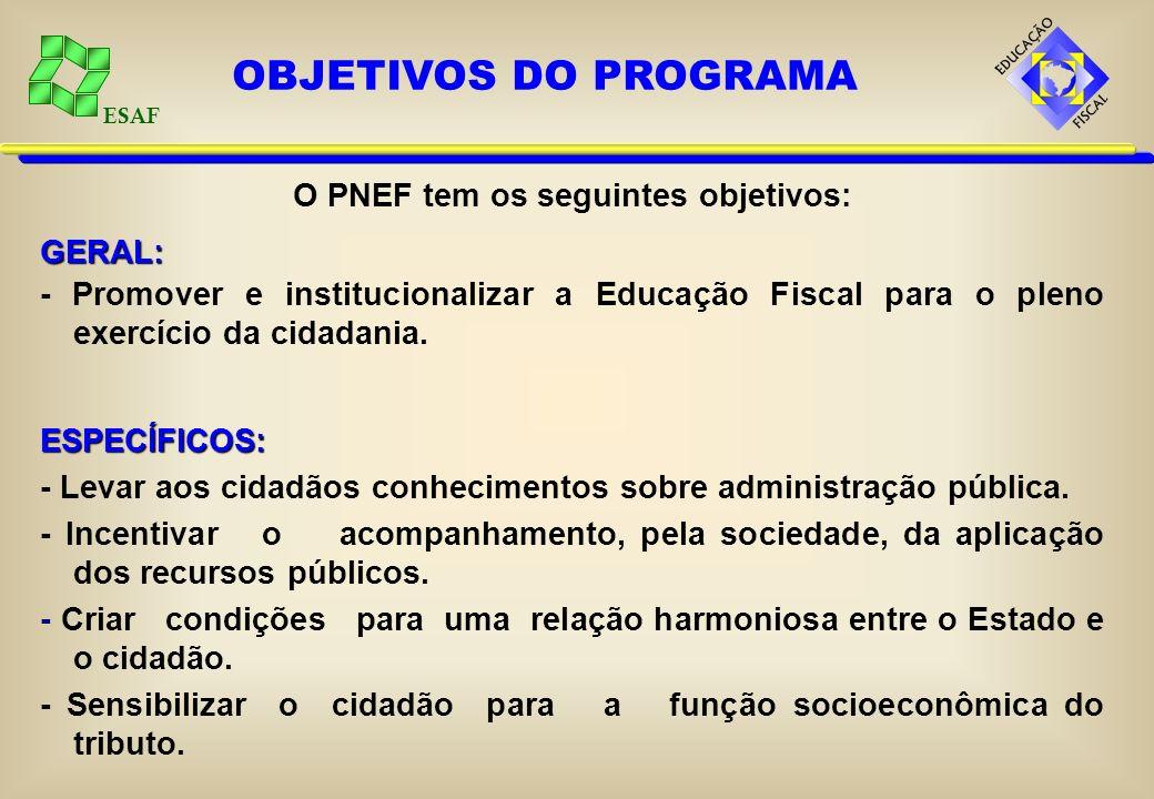 O PNEF tem os seguintes objetivos: