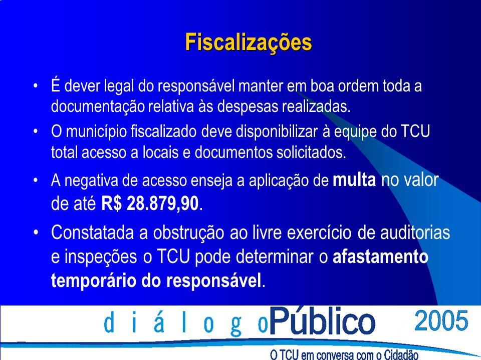 Fiscalizações É dever legal do responsável manter em boa ordem toda a documentação relativa às despesas realizadas.