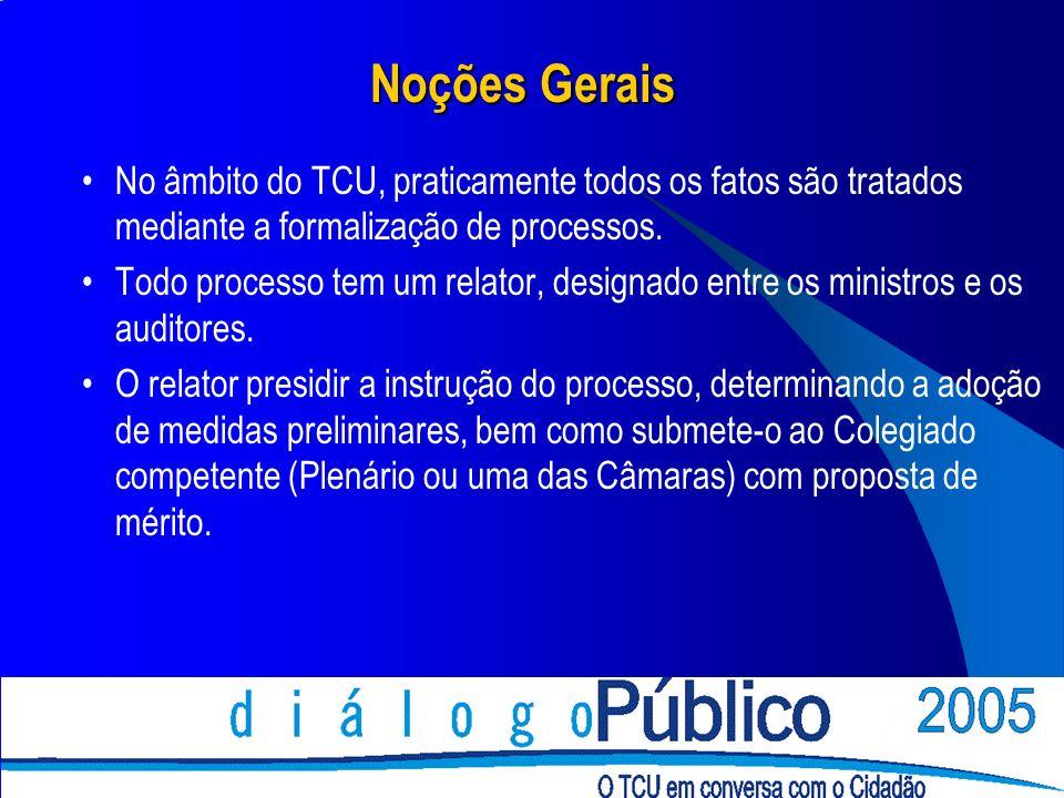 Noções Gerais No âmbito do TCU, praticamente todos os fatos são tratados mediante a formalização de processos.