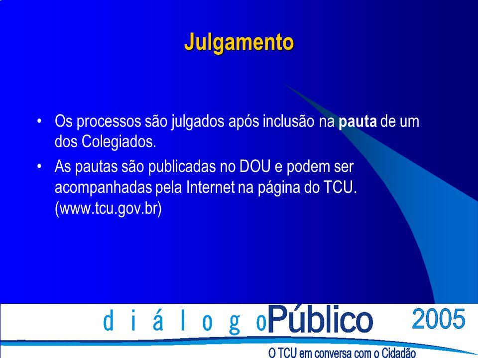 Julgamento Os processos são julgados após inclusão na pauta de um dos Colegiados.
