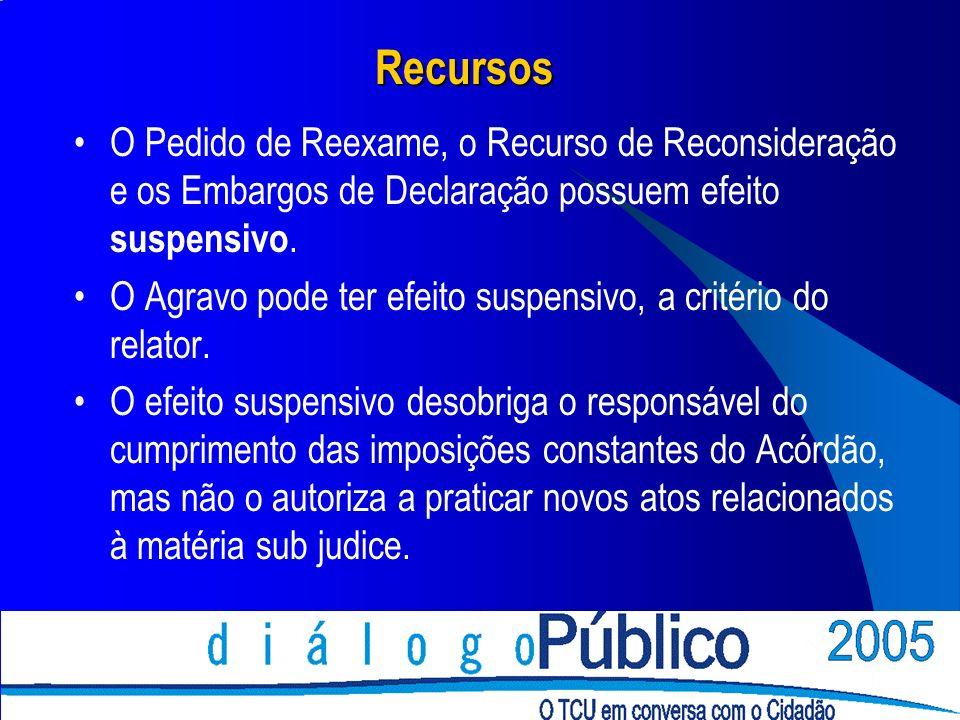 Recursos O Pedido de Reexame, o Recurso de Reconsideração e os Embargos de Declaração possuem efeito suspensivo.