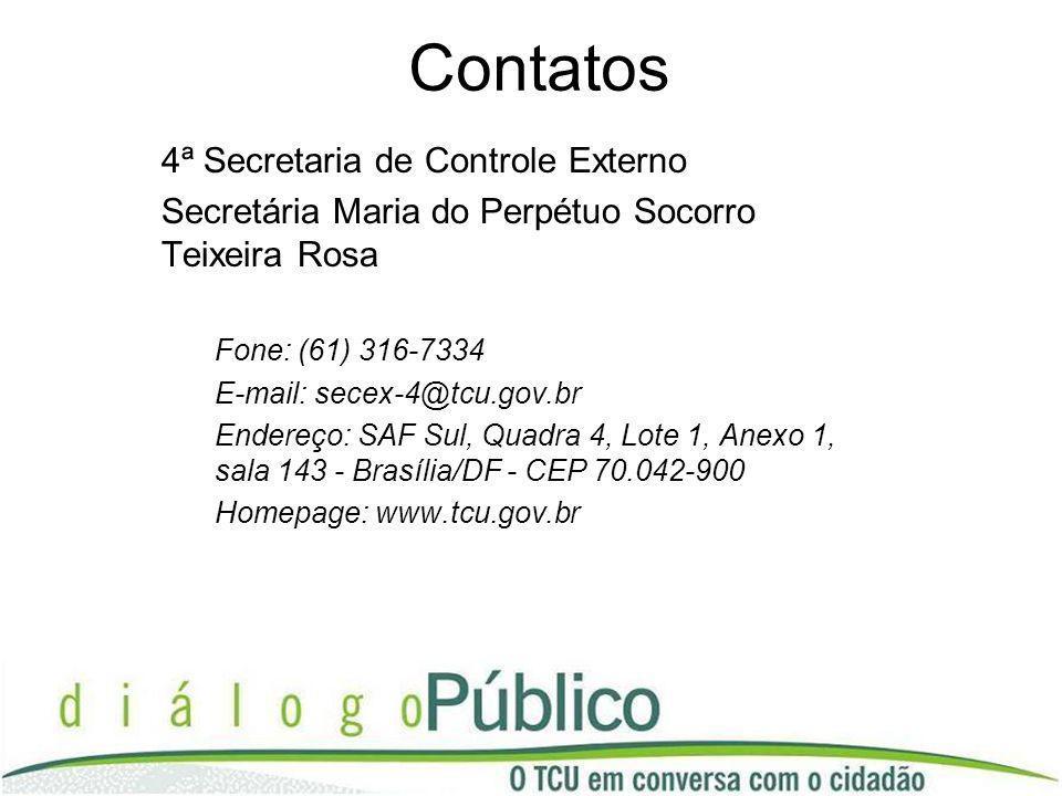 Contatos 4ª Secretaria de Controle Externo