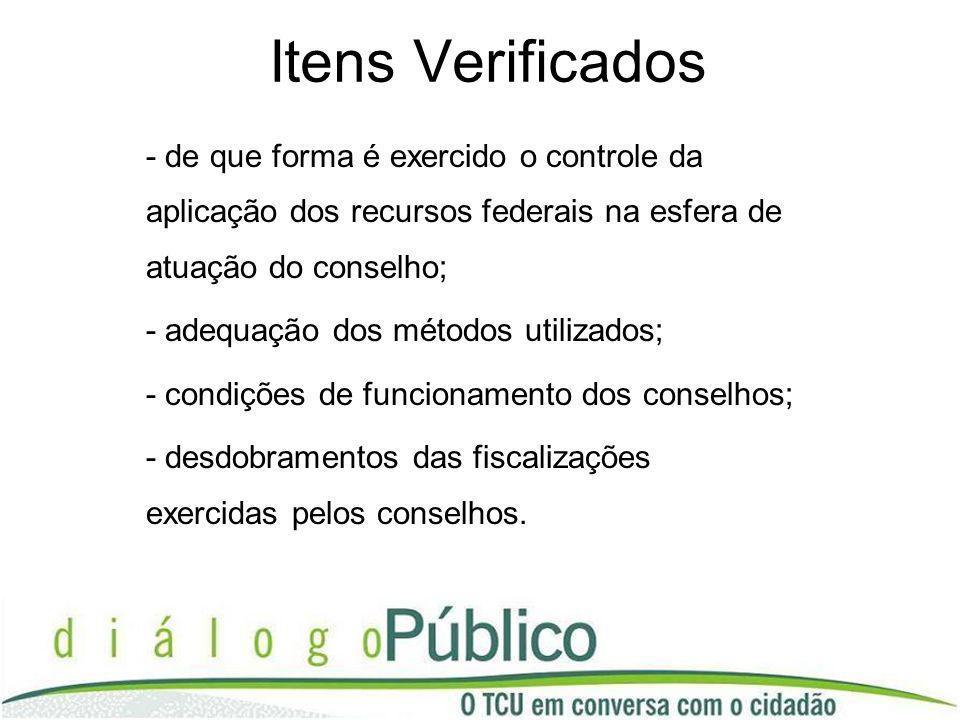 Itens Verificados - de que forma é exercido o controle da aplicação dos recursos federais na esfera de atuação do conselho;