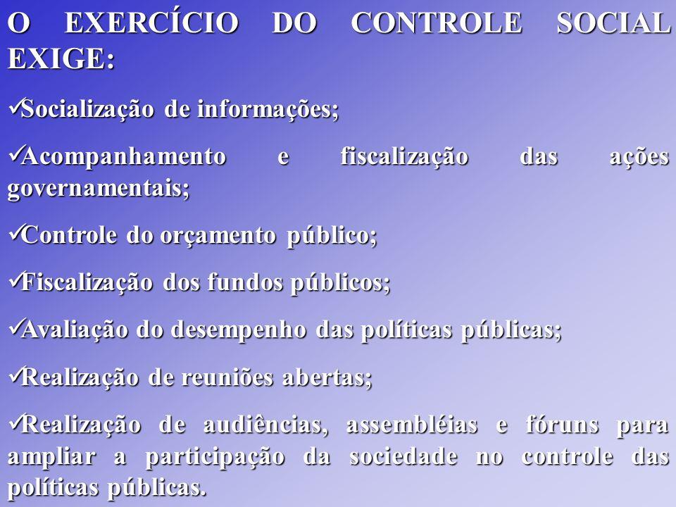 O EXERCÍCIO DO CONTROLE SOCIAL EXIGE: