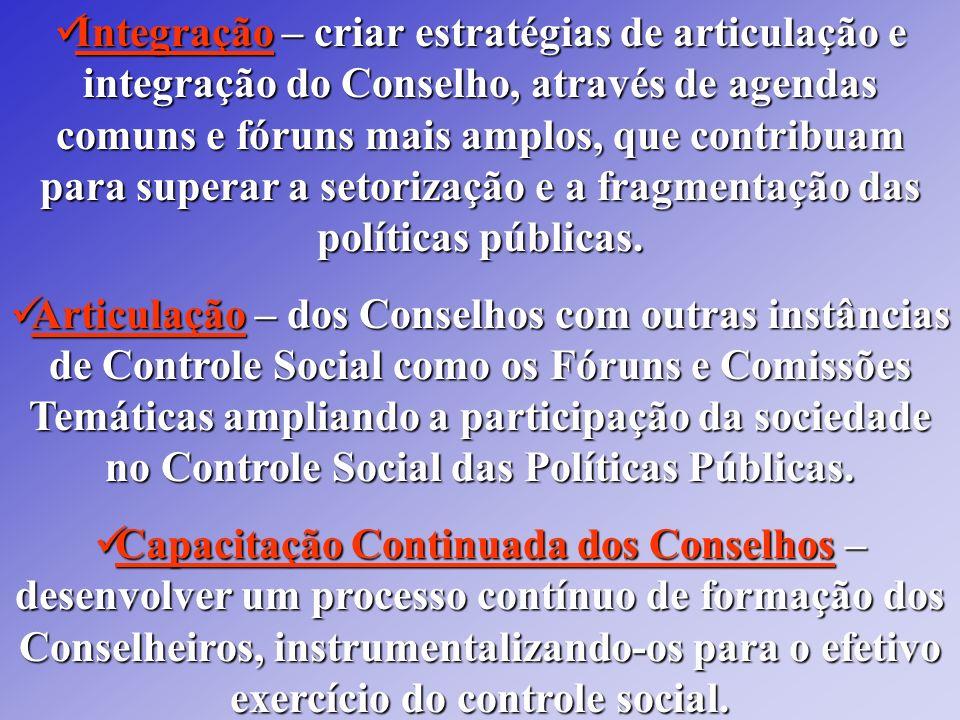 Integração – criar estratégias de articulação e integração do Conselho, através de agendas comuns e fóruns mais amplos, que contribuam para superar a setorização e a fragmentação das políticas públicas.