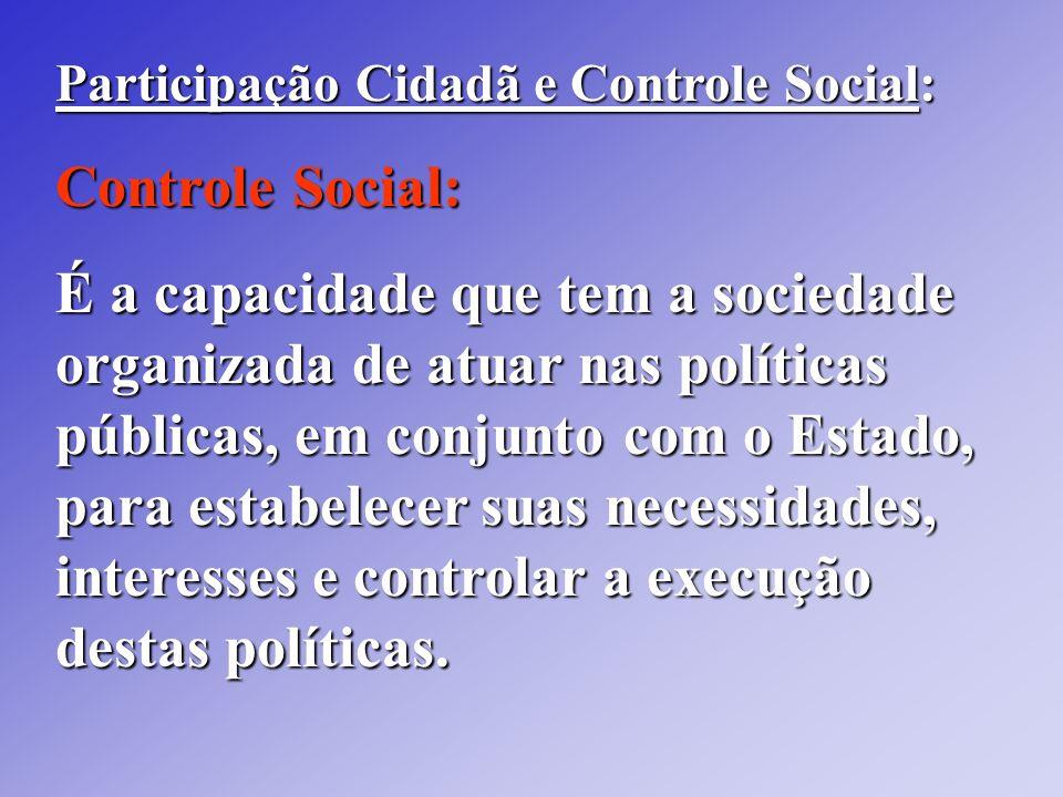 Participação Cidadã e Controle Social: