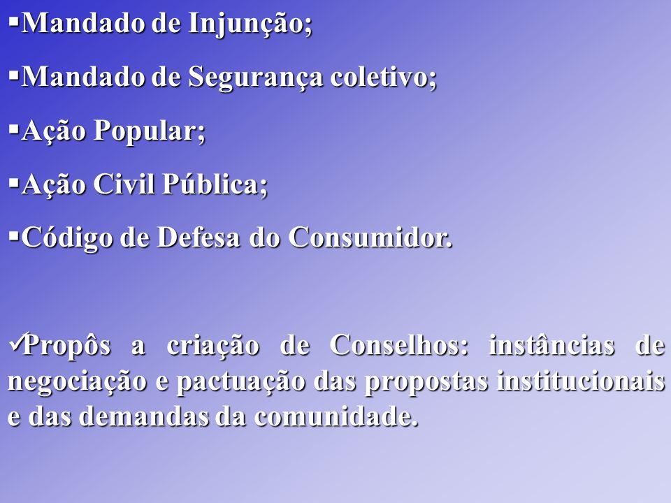 Mandado de Injunção; Mandado de Segurança coletivo; Ação Popular; Ação Civil Pública; Código de Defesa do Consumidor.