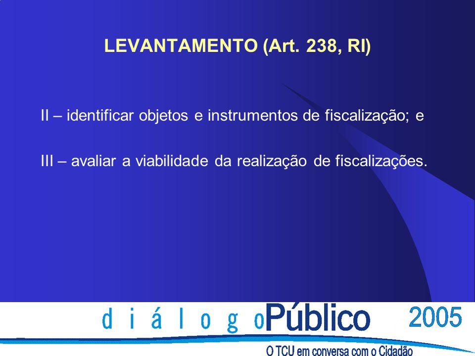 LEVANTAMENTO (Art. 238, RI) II – identificar objetos e instrumentos de fiscalização; e.