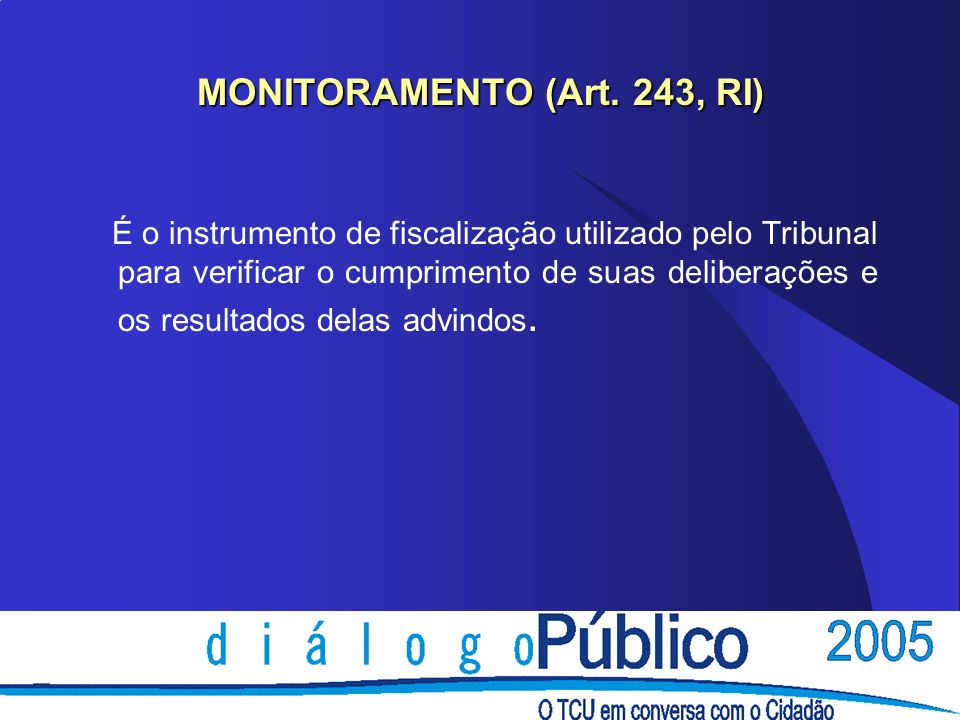 MONITORAMENTO (Art. 243, RI)