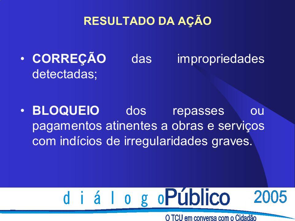 CORREÇÃO das impropriedades detectadas;