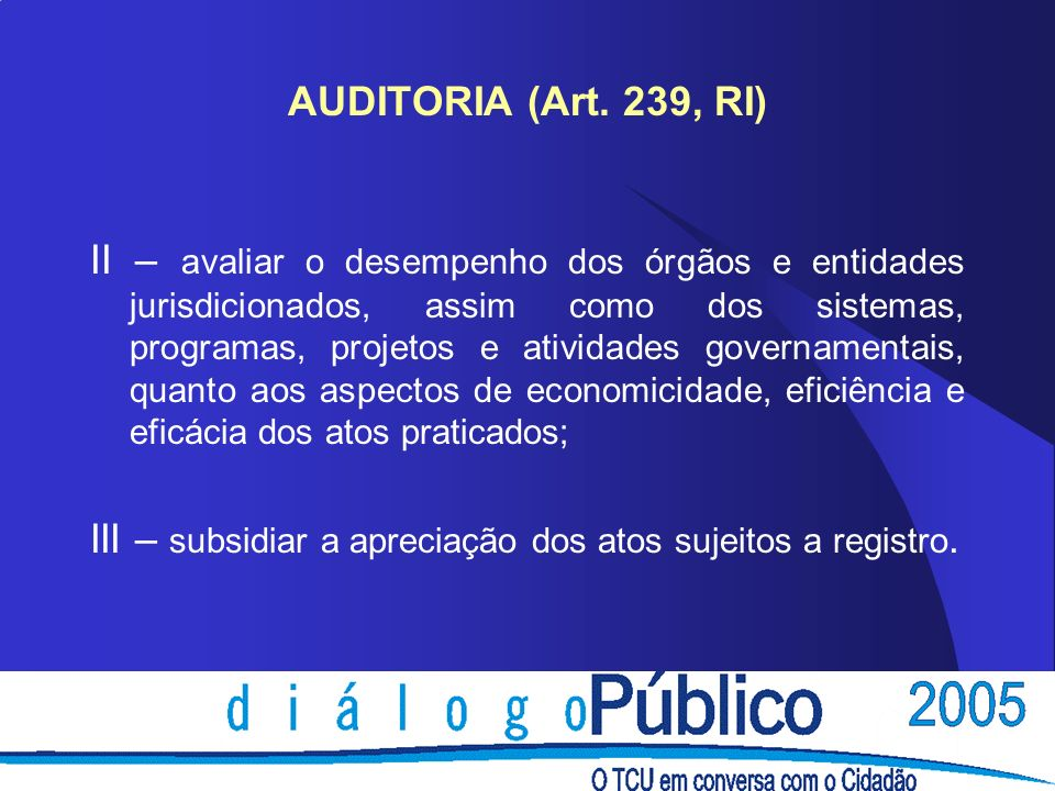 AUDITORIA (Art. 239, RI)