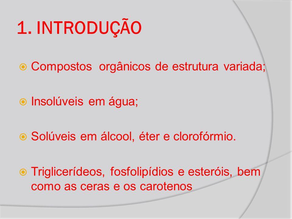 1. INTRODUÇÃO Compostos orgânicos de estrutura variada;