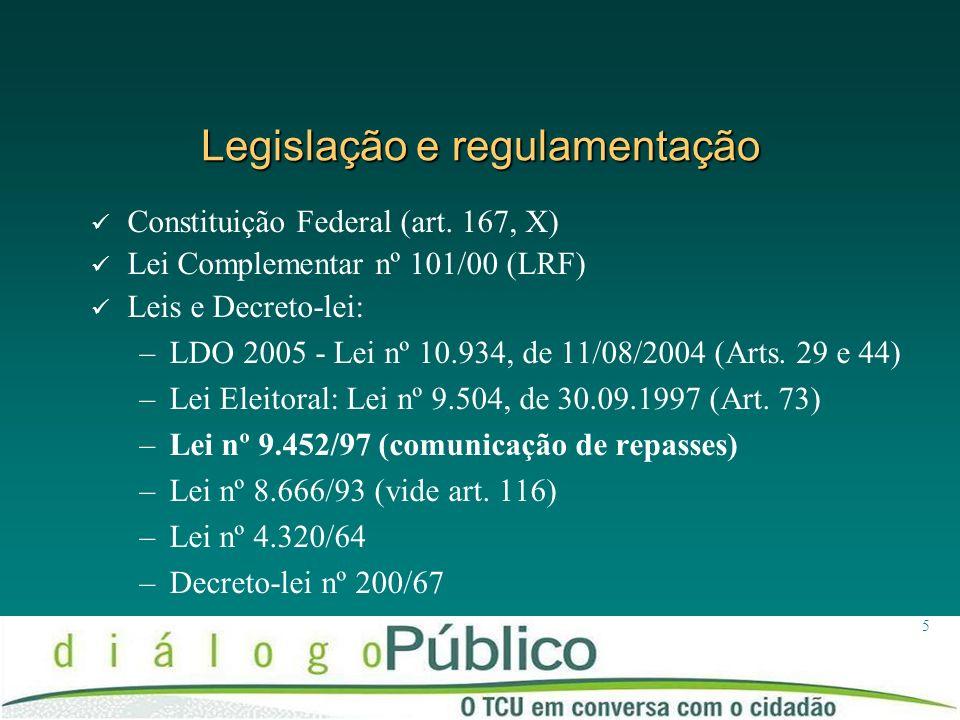Legislação e regulamentação