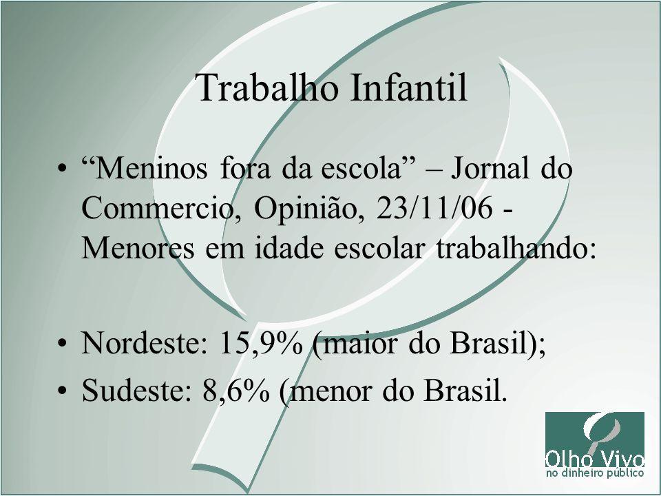 Trabalho Infantil Meninos fora da escola – Jornal do Commercio, Opinião, 23/11/06 - Menores em idade escolar trabalhando: