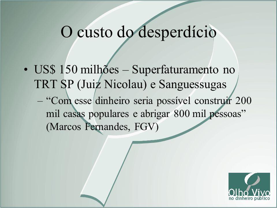 O custo do desperdícioUS$ 150 milhões – Superfaturamento no TRT SP (Juiz Nicolau) e Sanguessugas.