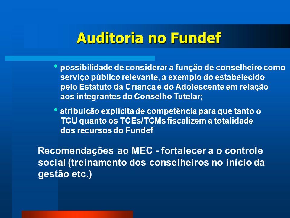 Auditoria no Fundef possibilidade de considerar a função de conselheiro como. serviço público relevante, a exemplo do estabelecido.