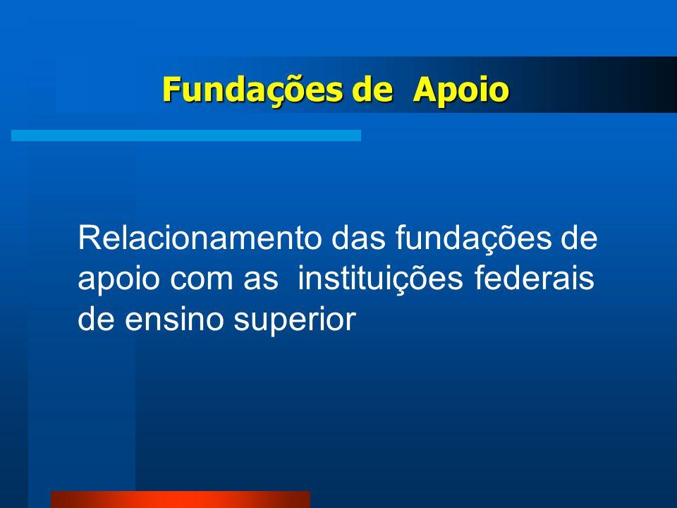 Fundações de Apoio Relacionamento das fundações de apoio com as instituições federais de ensino superior.