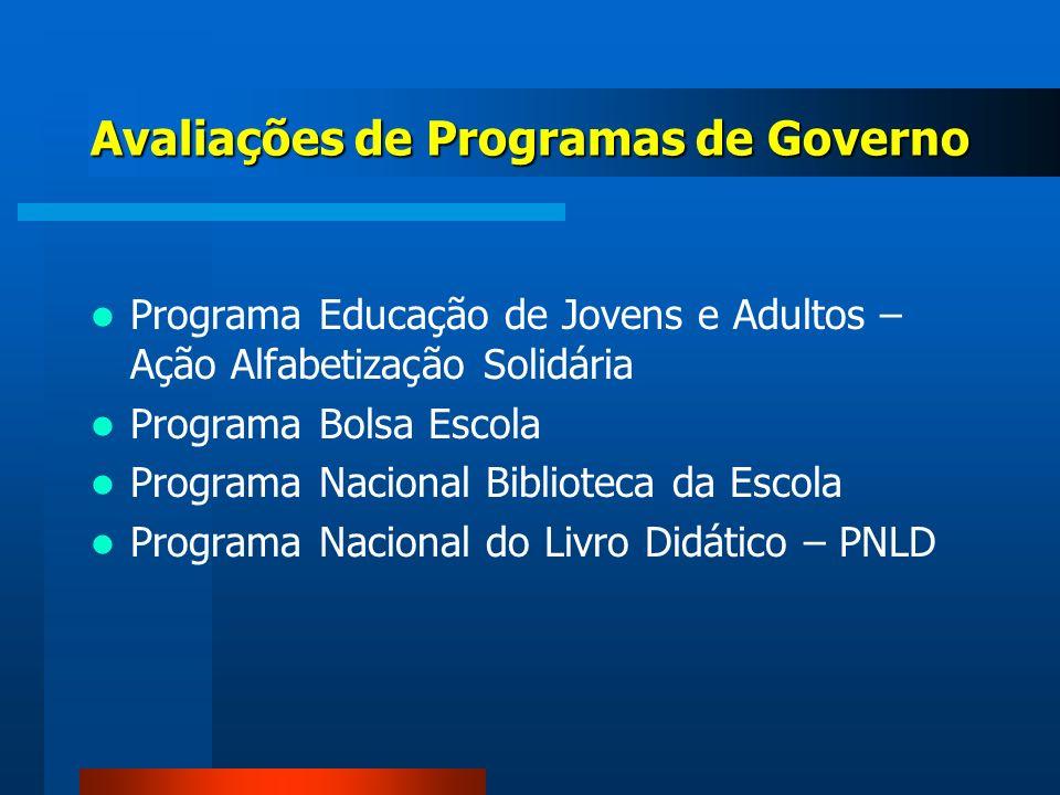 Avaliações de Programas de Governo