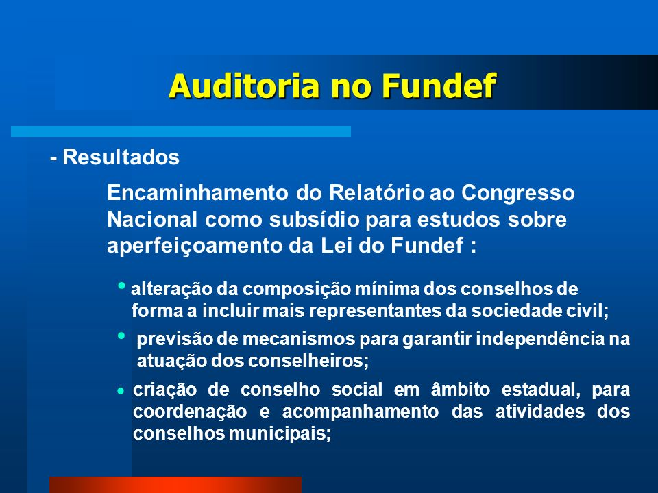 Auditoria no Fundef - Resultados