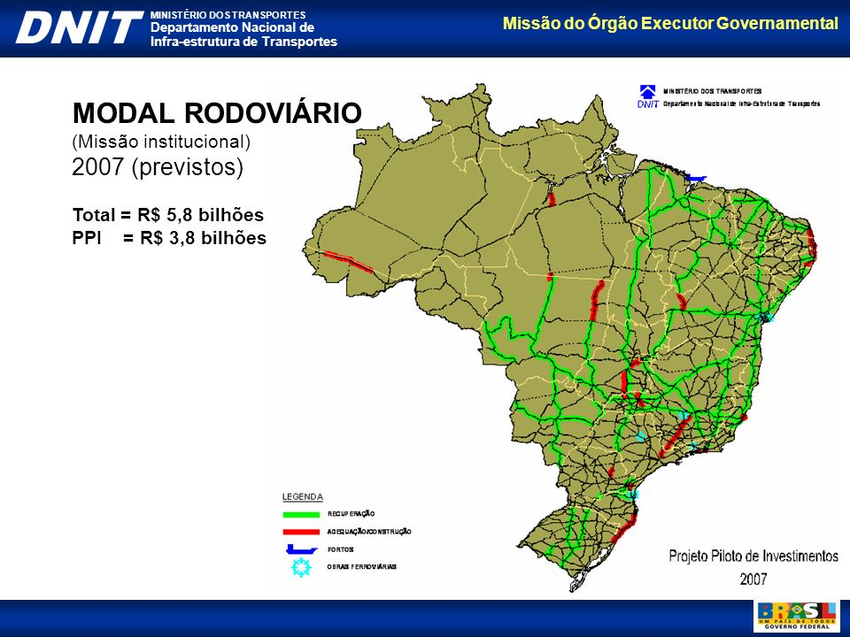 MODAL RODOVIÁRIO 2007 (previstos) (Missão institucional)