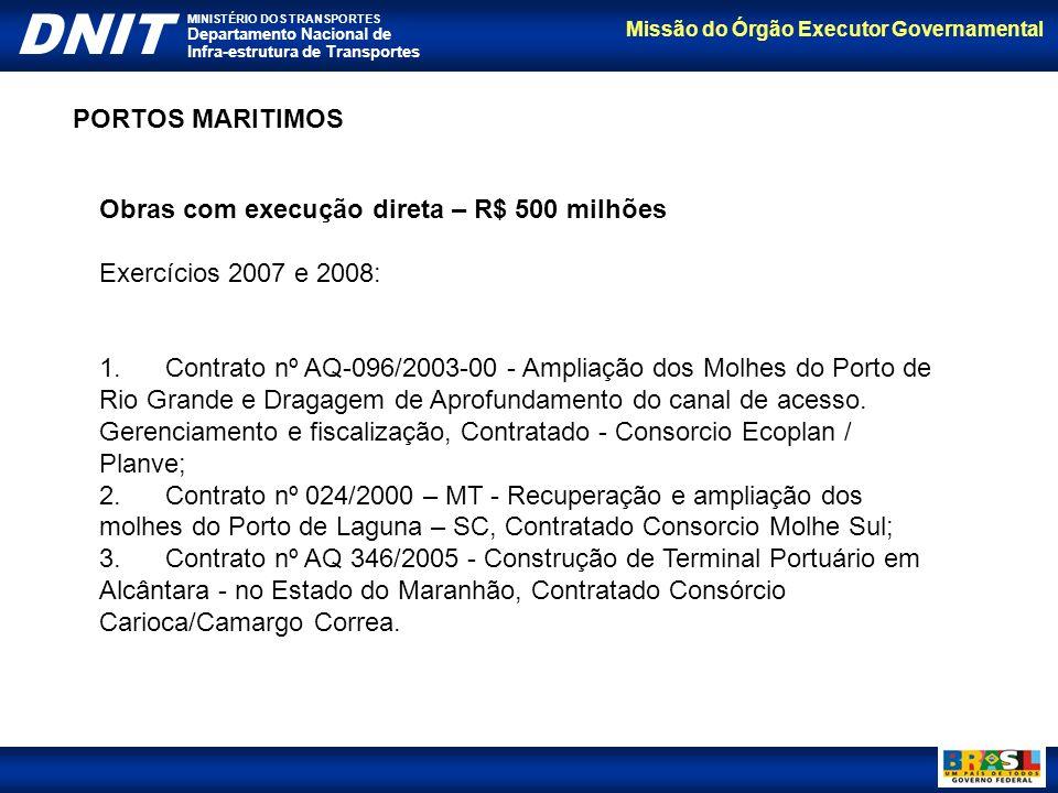 PORTOS MARITIMOS Obras com execução direta – R$ 500 milhões. Exercícios 2007 e 2008: