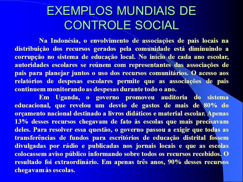 EXEMPLOS MUNDIAIS DE CONTROLE SOCIAL