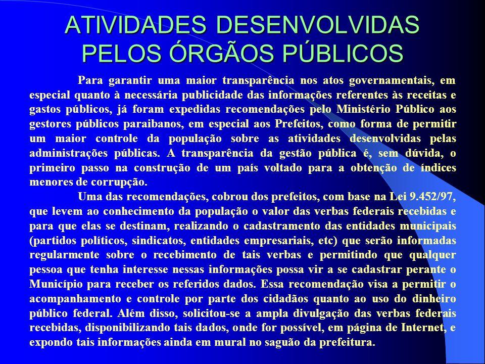 ATIVIDADES DESENVOLVIDAS PELOS ÓRGÃOS PÚBLICOS
