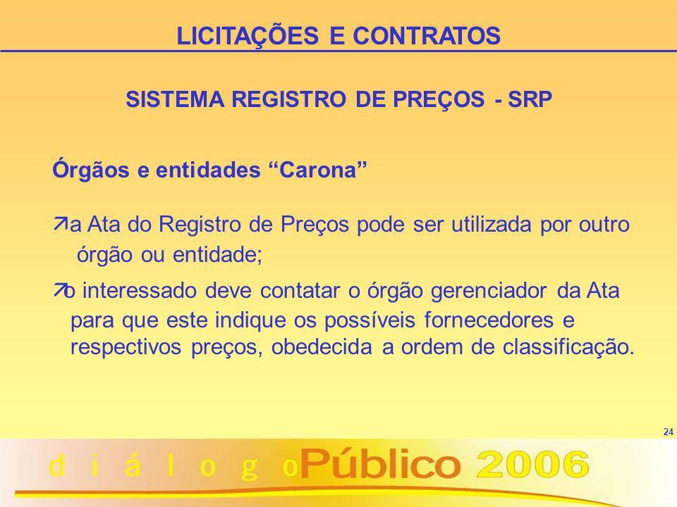 LICITAÇÕES E CONTRATOS SISTEMA REGISTRO DE PREÇOS - SRP