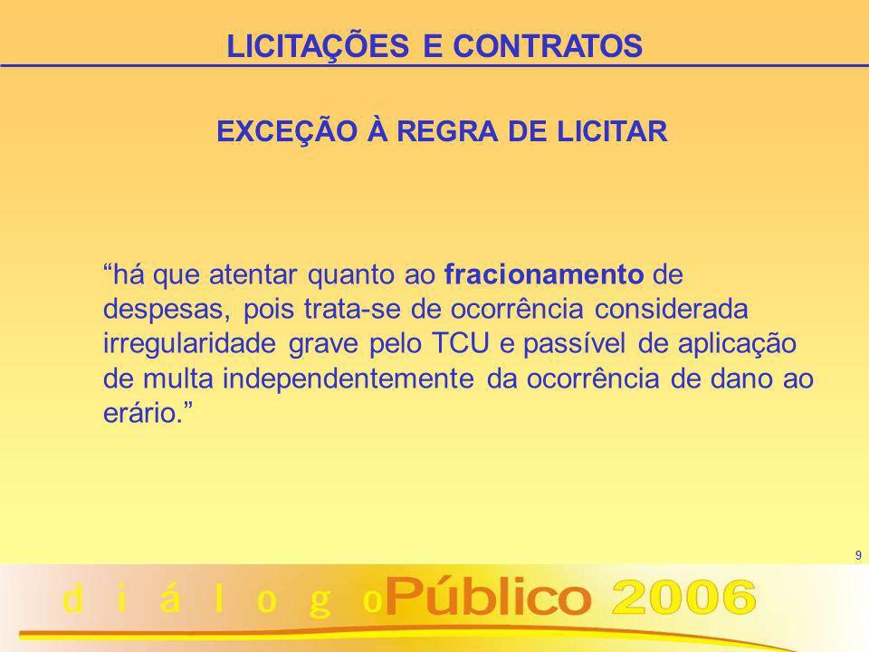 LICITAÇÕES E CONTRATOS EXCEÇÃO À REGRA DE LICITAR