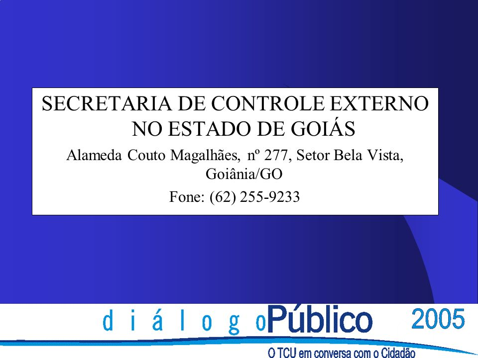 SECRETARIA DE CONTROLE EXTERNO NO ESTADO DE GOIÁS