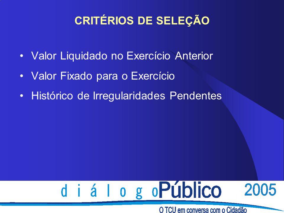 CRITÉRIOS DE SELEÇÃO Valor Liquidado no Exercício Anterior.