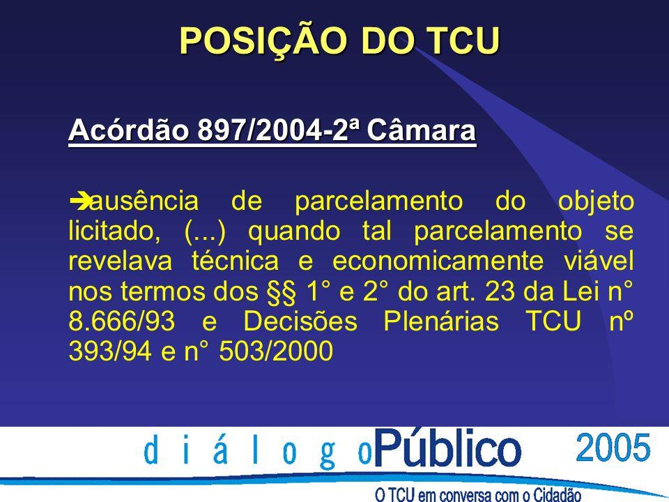POSIÇÃO DO TCU Acórdão 897/2004-2ª Câmara